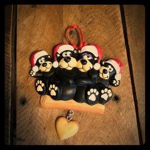 Personalized Christmas black bear ornament